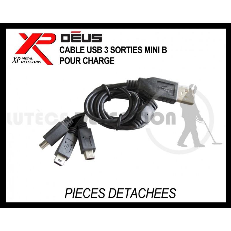 Câble de charge USB 3 sorties détecteur XP DEUS et ORX